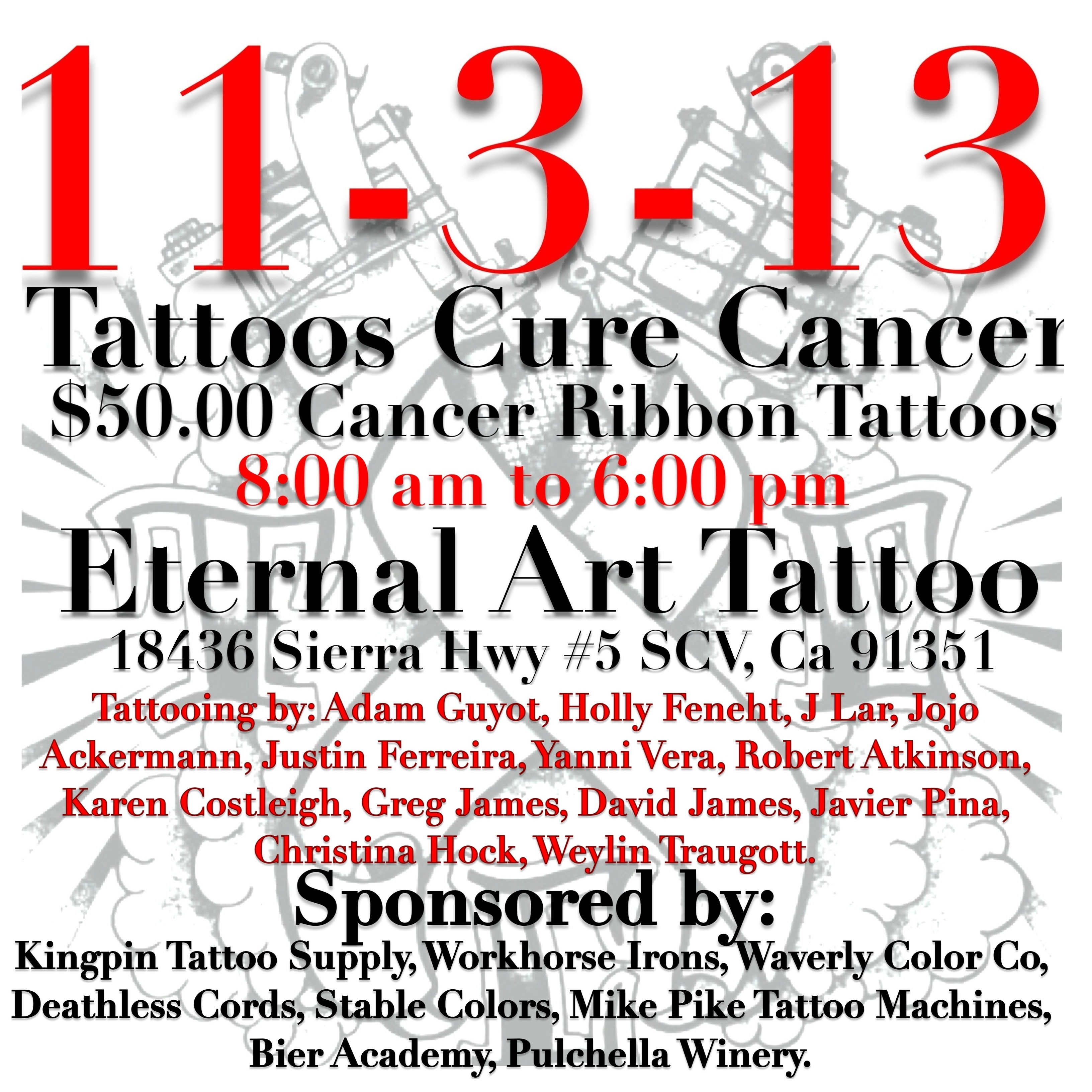tattoos cure cancer launch benefit event. Black Bedroom Furniture Sets. Home Design Ideas